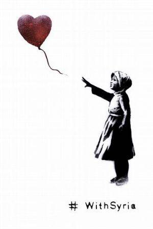 Bansky crea una versión de «Niña con el globo» a favor de la paz en Siria